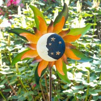 Métal éolienne – Sunface – Résistant aux intempéries, peinte à la main – vent roue : Ø52 cm, profondeur : 15 cm, hauteur totale : 160 cm – avec support tige Moonlight