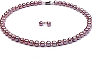 JYX Pearl Necklace Set AAA Quality 7-8mm Round Freshwater Cultured Pearl Necklace and Earings Set