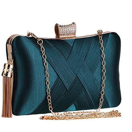 BAIGIO Damen Clutch Abendtasche Elegant Handtasche Kettetasche mit Quasten Anhänger für Hochzeit (Grün)