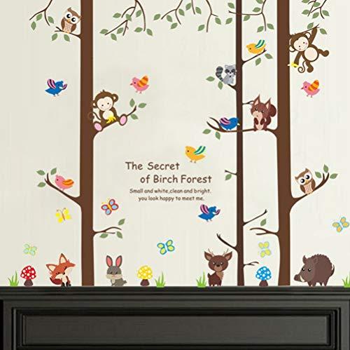 ZBYLL Stickers Animaux Bouleau Décorations de Salon Home Decals Monkey Safari Affiche Murale Owlets Fox Kids Gift