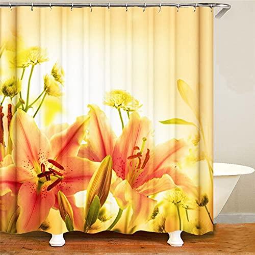 XCBN Sunflower Butterfly Shower Curtains Bathroom Decor Yellow Flower Summer Plant Home Bathtub Screen Waterproof Bath Curtain A2 180x180cm