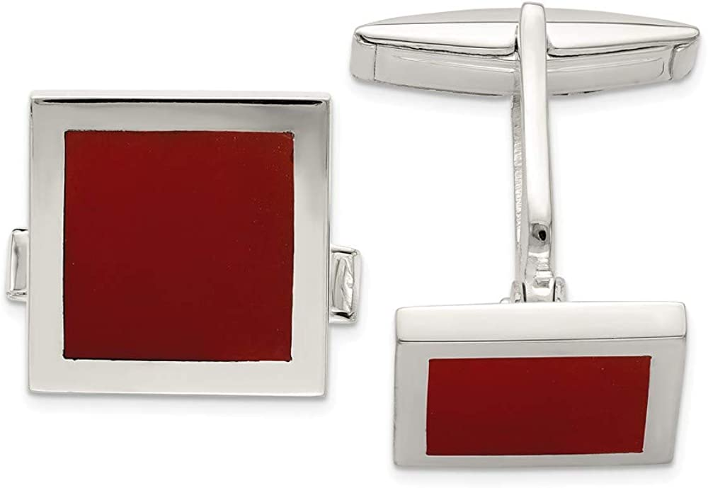 price 925 Sterling Silver Red Agate Houston Mall Cuff Mens Cufflinks Links Fin Link