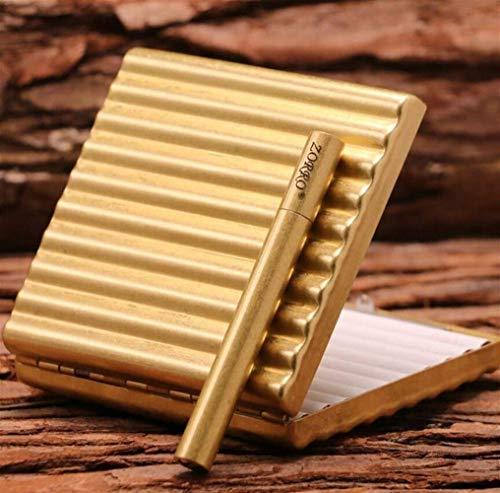 Copper Zigarettenetui 20 Sticks Zigarettenschachtel Tragbare Personality Anti-Druck Neue kreative Zigarette Muster Zigarettenetui, Gold/Silber (Farbe: Gold, Größe: 8.8 * 8.5 * 1.8cm) Exquisite Zigar