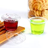 TashiBox 200 Sets - 1 Ounce Jello Shot Cups with Lids, Plastic Souffle Portion Cups with Lids,...
