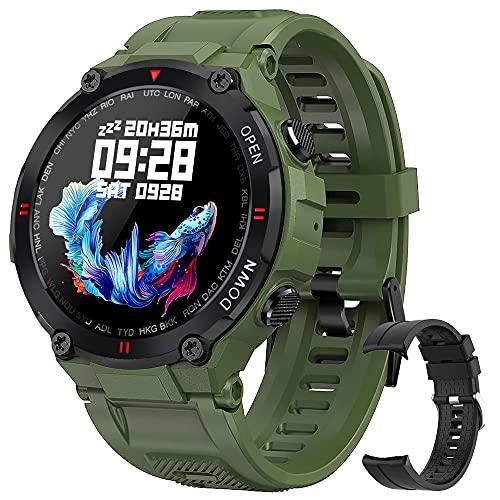 Relojes Inteligente Hombre,Smartwatch con Caloría Pulsómetro,Presión Arterial, Monito de Sueño,Podómetro Pulsera Reloj Impermeable IP68 para Android iOS y Xiaomi Huawei iPhone (Verde)