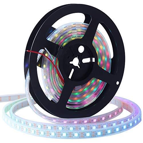 CHINLY 5m WS2812B Tira de luz LED direccionable individualmente SMD5050 RGB 300 píxeles Color de sueño Impermeable IP67 Blanco PCB 5V DC