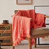 Natural Wrinkled Cotton Throw Blanket for Bed, Couch, Knit Woven with Tassels Soft Lightweight Cozy Blanket Scarf Shawl Farmhouse Decoration for All-Season (Coral Red)