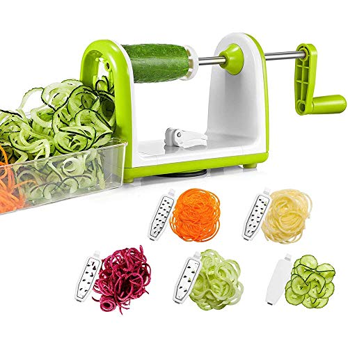 JQ-LOVE Vegetable Spiralizer Slicer, 5 Blades Spiral Cutter Slicer for Veggie Spaghetti Pasta, Salad with Food Container, Powerful Suction Pad for Low Carb/Paleo/Gluten-Free Meals