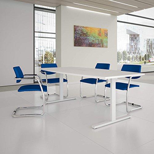 Easy Konferenztisch Bootsform 200x100 cm Weiß mit Elektrifizierung Besprechungstisch Tisch, Gestellfarbe:Weiß