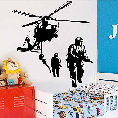 Ajcwhml Neue Soldat Kampf Vinyl Aufkleber Tapete Kinderzimmer Wohnkultur Schlafzimmer Dekoration Hubschrauber Wandbild Poster