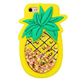Quicksand Pineapple Case for iPhone 5 5S 5C,Soft Cute Silicone 3D Cartoon Fruit Food Cover,Shockproof Vivid Color Kids Girls Boys Bling Glitter Rubber Kawaii Character Fashion Cases for iPhone 5