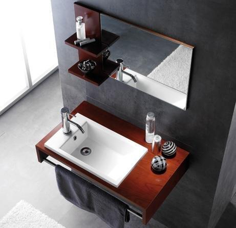 Badkamermeubel, wastafel en spiegel, model top zonder montage
