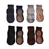 Esaroll Anti Skid Socks Toddler Boy 3 to 5 Years Trampoline Socks for Kids Bulk 4 Pairs Black Grey Brown Navy Blue
