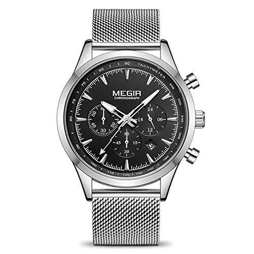 AZPINGPAN cinturón de Malla de Acero Inoxidable Deportes Reloj de Pulsera para Hombres a Prueba de Agua, clásico Gran dial de Negocios Calendario Casual Reloj de Cuarzo Reloj de Brazalete