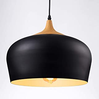 HOMIFORCE Vintage Style 1 Light Large Black Dome Pendant Light with Metal Shade in Matte-Black Finish-Modern Industrial Edison Style Hanging CL000502(Kopff Black)