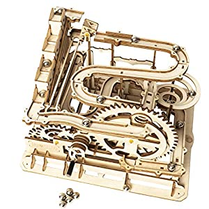 ROKR Marble Run Wooden Model Kits 3D Puzzle Mechanical Puzzles for Teens and Adults(Waterwheel Coaster) from Rokr