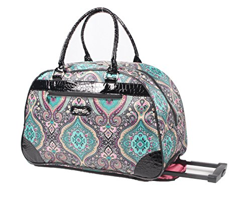 Kathy Van Zeeland Designer Duffel Bag - Small 22 Inch Rolling Carry On - Lightweight Weekender Overnight Business Travel Luggage - Rolling 2-Spinner Wheels Suitcase for Women (Purple Paisley II)