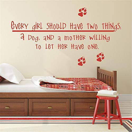 Calcomanías de vinilo para pared con texto en inglés «Things a Mother Willing to Let her Have One for Girls Should Have Two Things A Dog and a Mother Willing to Let her Have one for Girls Room, vinilo, 15.6x26 inches
