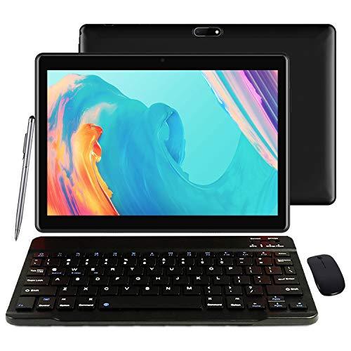 Tableta 10' 4G Android 9.0 Tablet con teclado, certificación GMS 4GB RAM 64GB ROM 128GB Renovable Quad Core 8000mAh Dual SIM 5MP + 8MP Cámara, Wifi, Bluetooth, GPS, OTG - Negro