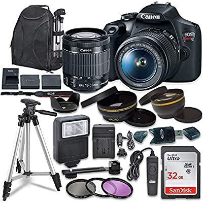 Canon EOS Rebel T7 Digital SLR Camera with Canon EF-S 18-55mm Image Stabilization II Lens, Sandisk 32GB SDHC Memory Cards, Accessory Bundle (Renewed) from Canon