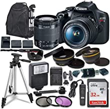 Canon EOS Rebel T7 Digital SLR Camera with Canon EF-S 18-55mm Image Stabilization II Lens, Sandisk 32GB SDHC Memory Cards, Accessory Bundle (Renewed)