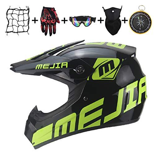 IURIMA Casco de moto de cross negro y verde, casco completo para niños, unisex, para Enduro, Downhill BMX Off Road-S (55-56) M