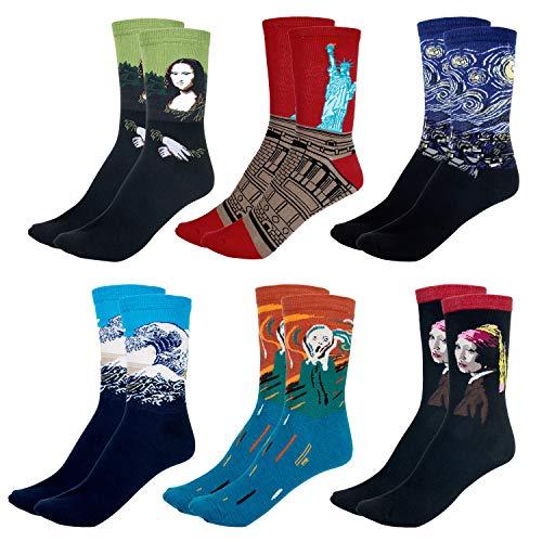 Czemo 6 Paar BerÜHmte Gemälde Gedruckte W&erliche Socken Lässige Crew Baumwolle Socken