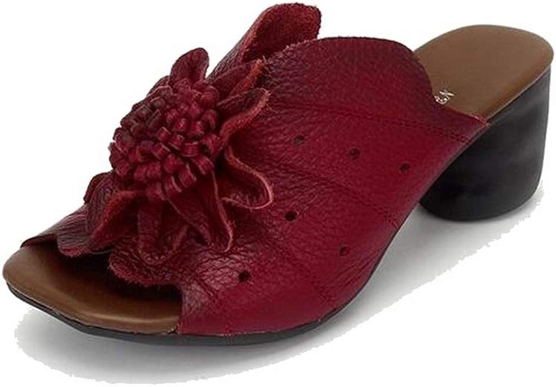 T-JULY Summer Women Wedges Sandals Genuine Leather Handmade Flower Square Heels Comfotable Outside Slides shoes