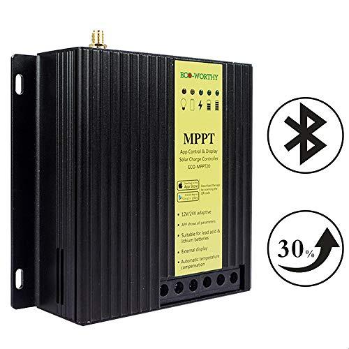 Eco-Worthy Régulateur solaire MPPT 20 A 12 V/24 V 15 à 30% de puissance en plus