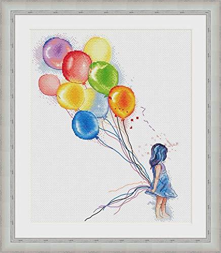 Juego de punto de cruz de algodón egipcio con diseño de globo y niña, 14 ct 160 x 200 puntadas 38 x 45 cm, punto de cruz de algodón