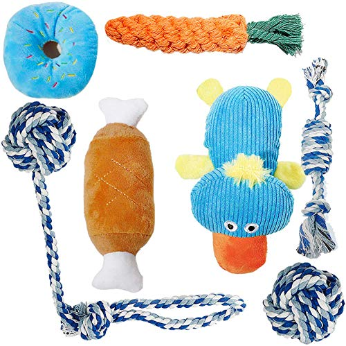 Toozey Puppy Toys for Teething, 7 Pack Dog Toys Small Dogs with Laundry Bag, Cute Platypus Small Dog Toys, Durable Plush Squeaky Dog Toys, 100% Natural Cotton Ropes Puppy Chew Toys, Non-Toxic and Safe