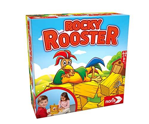 Noris 606064478 Rocky Rooster, das Geschicklichkeitsspiel mit Einsturzpotenzial, Für 2-4 Spieler ab 4 Jahren, Mehrfarbig