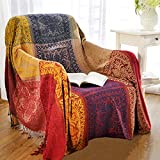 AIVIA Boho Throw Blanket, Colorful Chenille Woven Bohemian Chair Recliner Furniture Cover Aztec Hippie Throws Sofa Blankets (60' x 75', Red Green Navy Yellow)