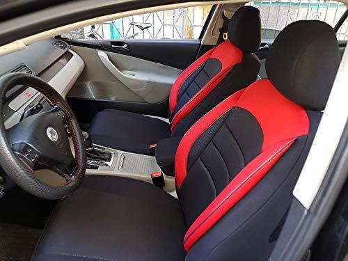 Sitzbezüge k-maniac für Audi A8 D2 | Universal schwarz-rot | Autositzbezüge Set Vordersitze | Autozubehör Innenraum | V930398 | Kfz Tuning | Sitzbezug | Sitzschoner