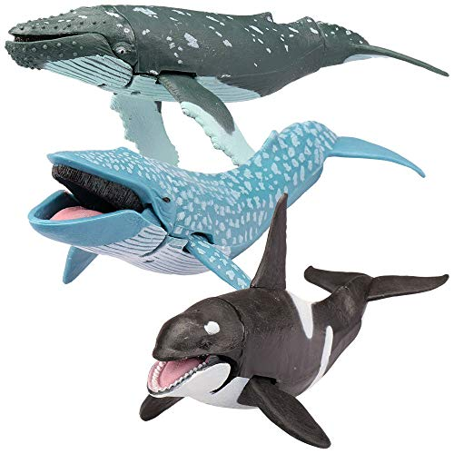 Kid Galaxy 20276 9' posable Seanimal - Whale - Killer Whale, Humpback, Blue, Grey, White