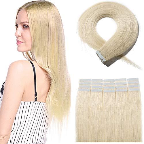 Tape Extensions Echthaar Klebe Haarverlängerung Glatt Weich Haarteil Günstig Human Hair 20 Stücke 40 Gramm 30cm 60# Platinblond