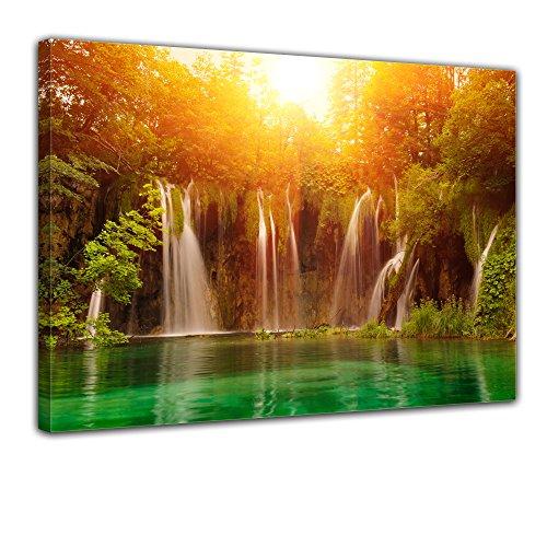 Bilderdepot24 Bild auf Leinwand | Wasserfall, Plitvice Kroatien in 40x30 cm als Wandbild | Wand-deko Dekoration Wohnung modern Bilder | 170617
