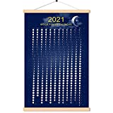 2021 March To 2022 April Moon Phase Calendar Print Poster Vertical Canvas Lunar Cycle Chart Scroll Frame Ready Space Wall Decor (16 X 24 Inch)