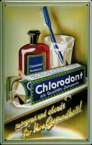 Buddel-Bini Versand Blechschild Nostalgieschild Chlorodont Mundwasser Zahnpasta Deko Schild DDR VEB Leowerke Schild Retro Werbeschild Ostalgie Ostprodukt