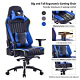 VON RACER Memory Foam Gaming Chair-Adjustable Tilt, Angle and 3D Arms Ergonomic High-Back Leather Racing Executive Computer Desk Office Metal Base, Blue