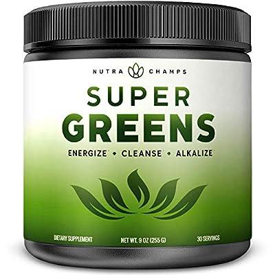 Super Greens Powder Premium Superfood - 20+ Organic Green Veggie Whole Foods - Wheat Grass, Spirulina, Chlorella & More - Antioxidant, Digestive Enzyme & Probiotic Blends | Vegan Juice Supplement by Nutrachamps Inc