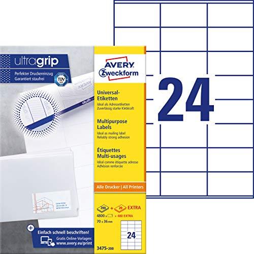 AVERY Zweckform 3475-200 Adressaufkleber (mit ultragrip, 70 x 36 mm auf DIN A4, Papier matt, bedruckbare, selbstklebende Adressetiketten, 5.280 Klebeetiketten auf 220 Blatt) weiß