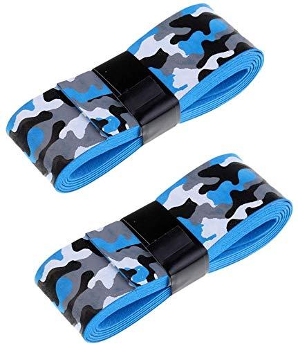 Inzopo 2 cintas antideslizantes para raquetas de tenis, bádminton/squash, mango de bicicleta, camuflaje azul y gris