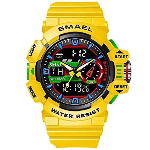 SMAEL Relojes Deportivos para Hombre Resistente Al Agua Digital Militares Relojes Multifuncional Militar Reloj para Hombre,Amarillo