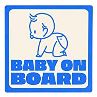 BABY IN CAR シール ステッカー 車 防水 耐水 耐候 ラミネート 安全運転 正方形 11㎝×11㎝ 「BABY ON BOARD」 赤ちゃんが乗っています 子供 シンプル かわいい デザイン 事故防止 (ブルー, 男の子)