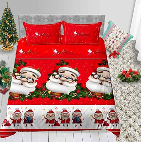 NTT Duvet Cover Merry Christmas Santa Claus Bedding Set 3D Print Duvet Cover With Pillocase 150 * 200Cm