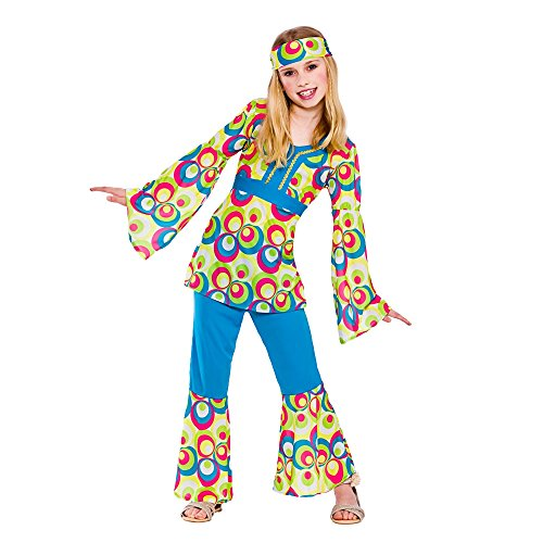 Retrò ragazza hippie ragazze Fancy Dress Up Halloween Costume Party 70 anni per bambino - 146-158cm