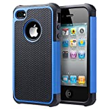 UARMOR Case for Apple iPhone 4 / iPhone 4S, Hybrid Dual Layer Protective Case with Hard Plastic and Soft Silicone Shockproof Durable Fullbody Protection Case, Black+Blue