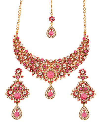 Touchstone Indian Hollywood Filigree White Pink Crystals Wedding Jewelry Necklace in Antique Gold Tone