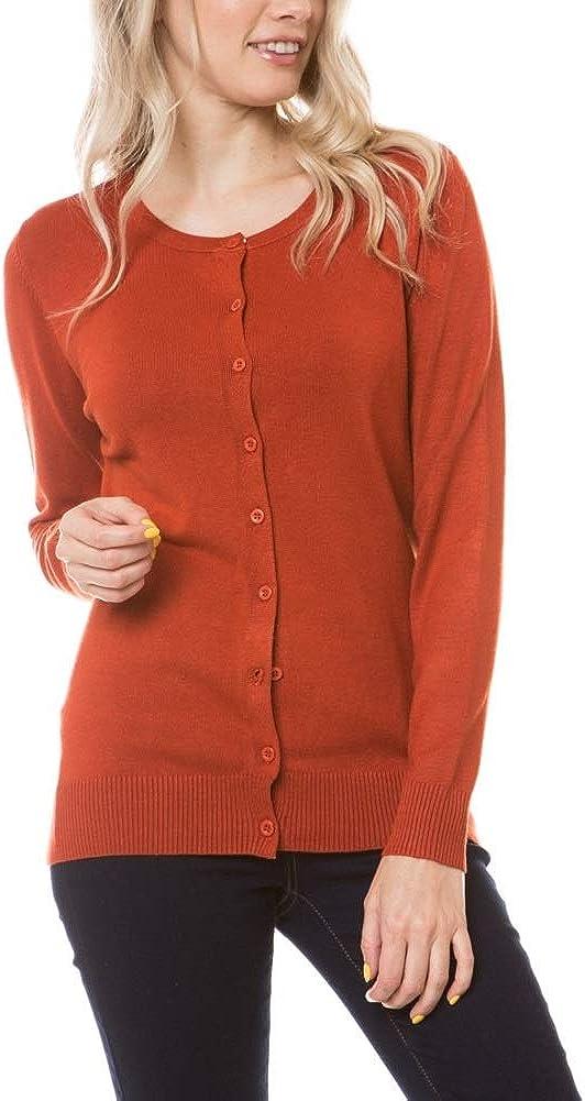 Beyond Trim Women's Sweater Cardigan - Classic Long Sleeve Soft Knit Button Down Crewneck Casual Basic Jacket Coat